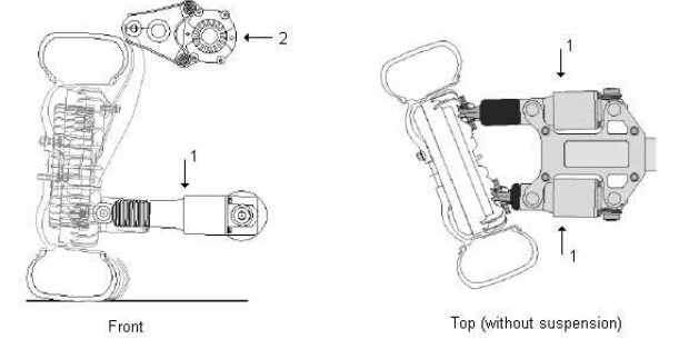 Figure 2.1.Overview of an Autonomous Corner Module, where (1) is steering actuators and (2) rotational spring-damper system
