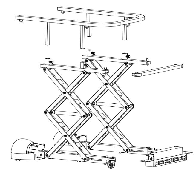 Figure 63 : The design allows the walker to be disassembled in to 5 pieces for transportation. The heaviest component is the scissor assembly with a weight of 35 lbs