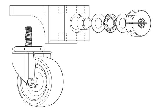 Figure 13 : Front bearing block shown with caster. This assembly is similar to the mid bearing block